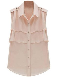 Hee Grand Women Flouncing Sleeveless Chiffon Shirts