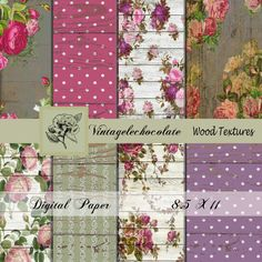 Shabby Wood Textures Pink Rose Textures by VintageLeChocolate