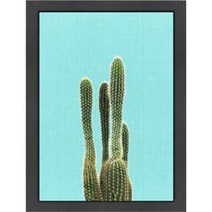 Cactus on Blue Framed Art Print