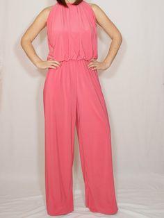 Jumpsuit women Coral pink jumpsuit Wide leg jumpsuit Halter