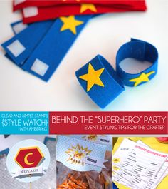 Behind the Super Hero Party - including lots of DIY super hero crafts/costumes. Avenger Party, 4th Birthday Parties, Boy Birthday, Super Hero Birthday, Birthday Ideas, Craft Party, Diy Party, Party Ideas, Anniversaire Wonder Woman