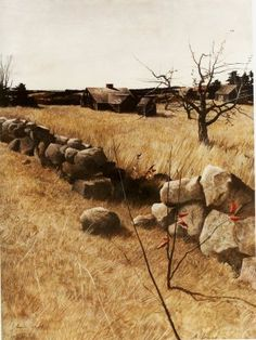Andrew Wyeth (b. The Stone Fence signed 'Andrew Wyeth' (lower left) tempera on panel 25 x in. x 47 cm. Jamie Wyeth, Andrew Wyeth Paintings, Andrew Wyeth Art, Landscape Art, Landscape Paintings, Nc Wyeth, Art Brut, American Art, Les Oeuvres