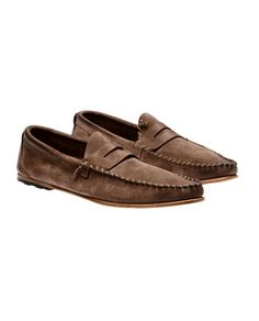 PREVENTI   WASHED SUEDE PENNY LOAFERS
