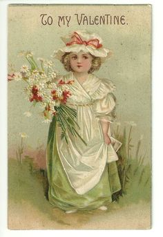 1908 Young Girl Holding Boquet of Flowers Daisy Bonnet Valentine Postcard | eBay