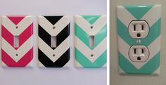 Set of 4 Classy Chevron Light Switch or Plug Decals Mix and Match!