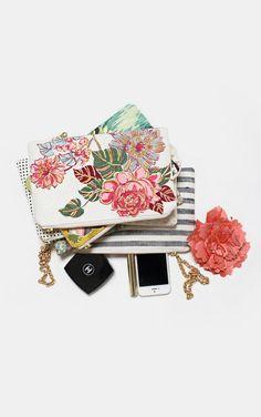 Vintage floral barkcloth clutch purse spring wedding gift