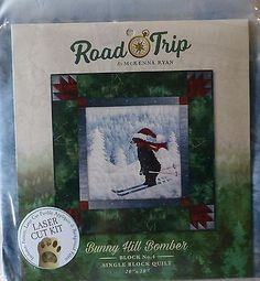 Road Trip~Bunny Hill Bomber Blk 4 McKenna Ryan~PreCut Applique Kit w/Fabric