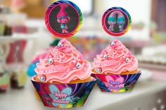 5 Trolls Cupcake Toppers and 2 Trolls Cupcake Wrappers b6ba0dc232783
