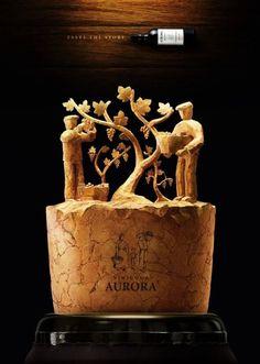 print-ads-aurora-wines Wine Craft, Wine Cork Crafts, Ads Creative, Creative Advertising, Creative Posters, Diy Cork, Wine Advertising, Advertising Campaign, Wine Cork Art