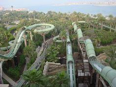 Looking for some fun on the water? Take a splash on this long winding water slide.