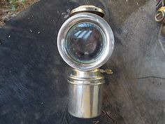 VINTAGE ANTIQUE LARGE BICYCLE MOTORCYCLE CARBIDE LAMP LANTERN LIGHT in Collectibles | eBay