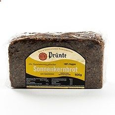 German Sunflower Seed Rye Bread by Prunte Germans love hearty, dark, nutritious bread thats high in protein. In fact, in Germany there are more than 300 varieties of bread. German breads are made from top-quality whole grain rye flour and are baked slowly in steam-heated ovens; a long process that brings out the breads distinctive darker color, nutty taste, and moist, firm texture.