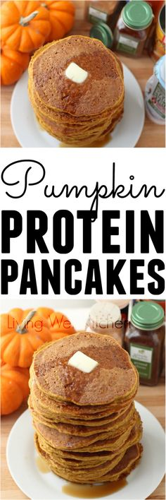 Pumpkin Protein Pancakes are a great way to start your day on the right foot. This recipe is high in protein, easy to make, and can be gluten free & have no added sugar. The perfect fall breakfast