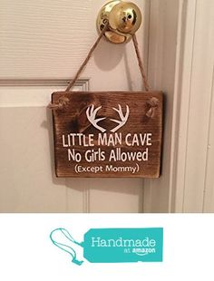"Adorable Rustic ""Little Man Cave"" With Antlers Wooden Door Sign Signs / Door…"