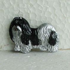 Shih Tzu Black White Brooch Dog Breed Jewellery Handpainted Handcrafted Resin