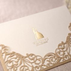 Antique and simple gold laser beam slice pocket wedding invitations cheapweddinginvitations vintagewedding Elegant Wedding Invitations, Laser Cut Wedding Invitations, Wedding Invitation Cards, Cheap Invitations, Invitations Online, Gold Invitations, Wedding Cards, Paper Lace Doilies, Wedding Table Names