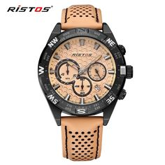 (31.85$)  Know more - http://aim00.worlditems.win/all/product.php?id=32765115423 - RISTOS Hot Sale Sport Men Watch Chronograph Calendar Quartz Leather Watches Male Army Fashion Date Wrist Watched Casual Relojes