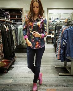 """""""▫️ The lovely and stylish @g.fek of @garys_mensstore wearing our Za Za top! I appreciate any woman who has not only our top, but also pink shoes in here…"""""""