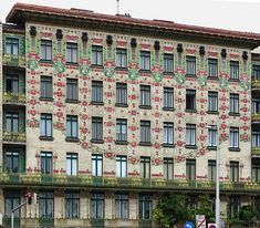 Majolica House at Linke Wienzeile 40 in Vienna, Austria. The façade is covered with decorated tile in Secession style. Movement Architecture, Art Nouveau Architecture, Amazing Architecture, Modern Architecture, Otto Wagner, Arcology, Examples Of Art, Colourful Buildings, Central Europe