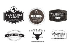 Western themed rustic logos. Links to font downloads included.