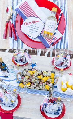 Host A Of July Dinner Clam Bake Style Host A Of July Dinner Clam Bake Style Host A Of July Clam Bake With Tips And Tricks For Setting The Party Tablescape In Style From Courtney Whitmore Of Pizzazzerie Nautical Clam Bake Party Table Lobster Bake Party, Shrimp Boil Party, Crab Party, Seafood Party, Seafood Bake, Lobster Fest, Lobster Boil, Lobster Dinner, Rock Lobster