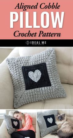 PILLOW CROCHET PATTERN: Aligned Cobble Stitch Pillow; You can never have too many pillows. We heart this pillow and know it's going to add a lot of love to your home. That soft, solid texture makes basically any place you decide to put it feel more cozy. Feel free to save this pattern. Go check it out. #heart #pillow #crochet #crochetdesign #idealme