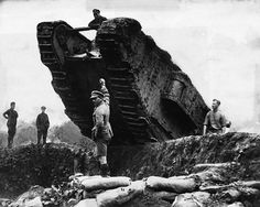 British tanks maneuvering trenches during the Battle of Cambrai. France, 1917