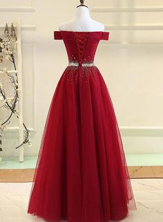 Burgundy Tulle Party Dress,Off Shoulder Long Prom Dress, Burgundy Evening Dress,Sleeveless Prom Party Homecoming Dresses Long Prom Dresses Uk, Cheap Prom Dresses, Homecoming Dresses, Bridesmaid Dresses, Formal Dresses, Dress Long, Quinceanera Dresses, Prom Gowns, Ball Gowns