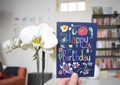 Birthday Card for Her Floral Illustration Card for Wife Birthday Cards For Her, Handmade Birthday Cards, Birthday Greeting Cards, Card Birthday, Handmade Greetings, Greeting Cards Handmade, Handmade Shop, Handmade Gifts, Blue Gift