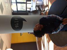 Blackboard office pillar vinyl with seat Blackboards, Rhubarb Marmalade, Typography, Wall Decor, Studio Design, Fallout, Office Ideas, Photography, Restaurant