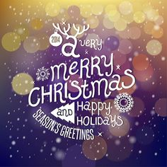Free Vector illustration of Beautiful typography 2014 A Very Merry Christmas and Happy Holidays Seasons Greetings on Greeting card
