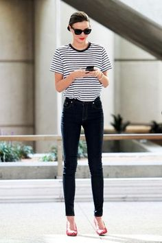 Miranda Kerr Goes Casual Chic In A Striped Tee And High Waist Jeans
