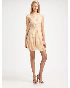 BCBGMAXAZRIA   Natural Willa Lace Dress   Lyst