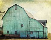 Aqua Barn Fine Art Photography Shabby Chic Mint Green Turquoise Teal Country Rustic Home Decor Wall Art