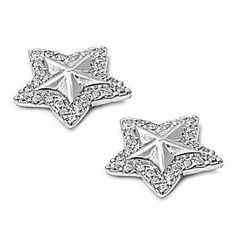 Silver Earrings W/ CZ - Star