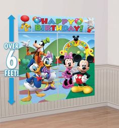 Mickey Mouse Scene Setter - Party City only 5.99! perfect for a non permanent  focal wall!