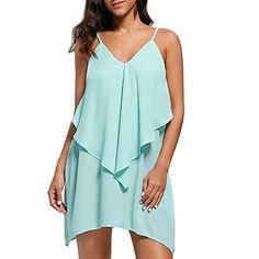 a7234bd712 Reasoncool Womens Dress Fashion Sleeveless Overlay Flowy Ruffles V-Neck  Solid Camis Mini