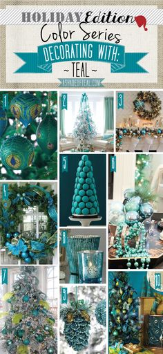 A Shade Of Teal - Holiday Color Series; Decorating with Teal. Teal holiday home decor Turquoise Christmas, Coastal Christmas, Christmas Colors, Christmas Home, Christmas Holidays, Peacock Christmas Tree, Christmas Palette, Vintage Christmas, Christmas Ideas