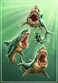 Great White Sharks Art Print by Zakihamdani Art Prints, Shark Tattoos, Fish Art, Animal Drawings, Fish Drawings, Shark Art, Art, Ocean Tattoos, Sea Art