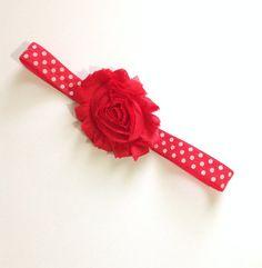 bright red shabby chiffon flower headband, red polka dot, baby headband, red and white headband, photo prop, elegant, common headband