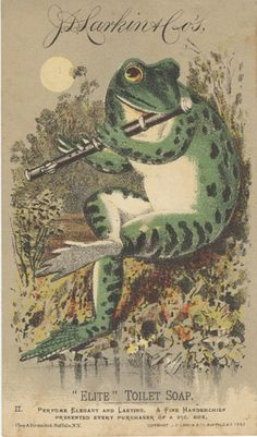 https://flic.kr/p/5Hnnj5 | J. D. Larkin & Co. (Manufacturers) | Persistent URL: digital.lib.muohio.edu/u?/tradecards,404 Subject (TGM): Frogs; Amphibians; Flutes; Musical instruments; Animals in human situations; Cosmetics & soap; Chemical industry;