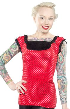 PINKY PINUPS RED/WHT DOT FRENCH TOP  Ruffle some feathers in this Polka Dot French Top from Pinky Pinups. Featuring a black lace ruffled neckline and lace trimmed sleeves, this bold red top just needs your favorite pencil skirt or capris to finish it off! $37.00 #pinkypinups #polkadot #pinup #top #retro #ruffles
