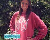 Comfort Colors Crewneck Sweatshirt Custom Solid or Glitter Monogram - Y'all Fancy