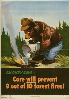 WWII, Smokey and a Little Bear, Wildfire Prevention National Forest Service Advertisement, vintage posters, fire prevention poster Vintage Advertisements, Vintage Ads, Vintage Posters, Vintage Signs, Us Forest Service, Smokey The Bears, Fire Prevention, Back To Nature, National Forest