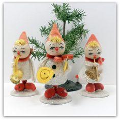 Vintage Christmas Spun Cotton Pixie Elf Band