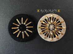 金×黒リングの糸ボタン5個目