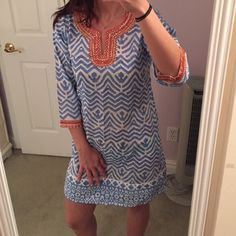 ❗️Price Drop❗️Bella Tu tunic / cover up Aztec print blue Bella Tu swim cover up / tunic, light weight 100% linen, two small slits on left and right side for legs, great over a bathing suit or with some white jeans, no tag but I haven't worn Bella Tu Dresses