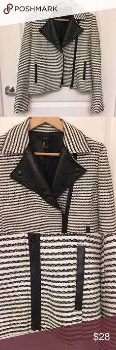 NEW Forever21 Striped Moto Jacket Tweed Moto Jacket with faux leather details on collar and pockets. Zips also on sleeves. Excellent condition, brand new! Forever 21 Jackets & Coats