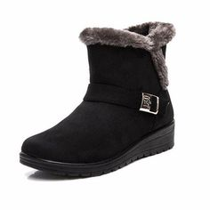 cfc7f2cf0e4f  16.58 Buckle Fur Lining Suede Keep Warm Slip On Flat Ankle Boots Winter  Snow Boots