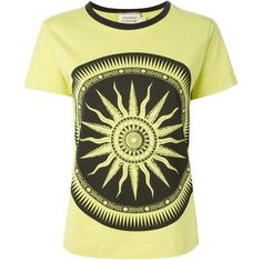 Fausto Puglisi Printed Crew Neck T-Shirt ($114) ❤ liked on Polyvore featuring tops, t-shirts, green, crew neck tee, crewneck t shirt, crew neck t shirt, crew-neck tee and green tee